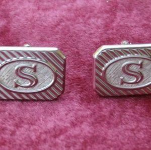 Vintage Initial S Swank Cufflinks Letter Cuff Link